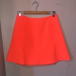 J.Crew   Fluted Skirt In Double Crepe Neon Orange